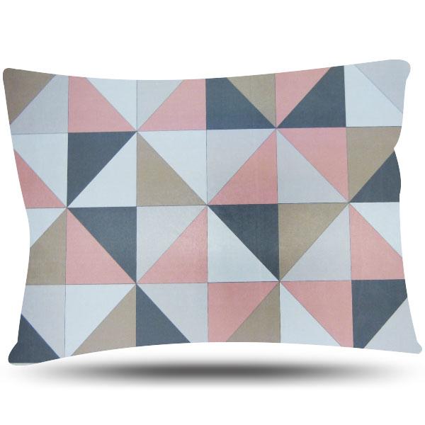 Fronha de Cetim Luxo - Geométrica Rosa e Cinza - Anti Frizz