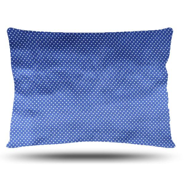 Fronha de Cetim - Poá Azul Royal - Anti Frizz