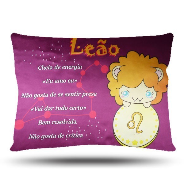 Fronha de Cetim Luxo - Signos do Zodíaco - Leão - Anti Frizz