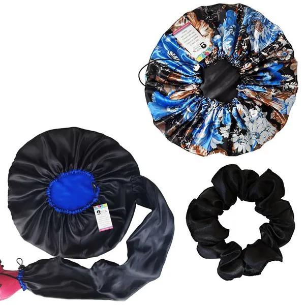 Kit 1 Difusora Azul - 1 Touca Floral Azul II e 1 Xuxinha Preta