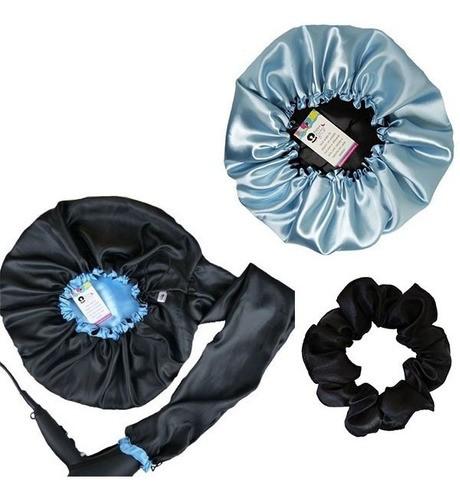 Kit 1 Difusora Azul Claro - 1 Touca Azul Claro e 1 Xuxinha Preta