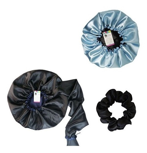 Kit 1 Difusora Azul Marinho - 1 Touca Azul Claro e 1 Xuxinha Preta