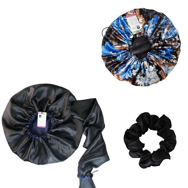 Kit 1 Difusora Azul Marinho - 1 Touca Floral Azul 2 e 1 Xuxinha Preta