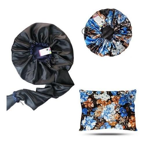 Kit 1 Difusora Azul Marinho - 1 Touca Floral Azul II e 1 Fronha Floral Azul II