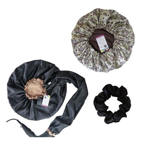 Kit 1 Difusora Bege - 1 Touca Floral Animal e 1 Xuxinha Preta
