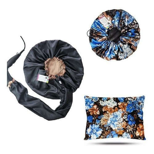 Kit 1 Difusora Bege - 1 Touca Floral Azul II e 1 Fronha Floral Azul II