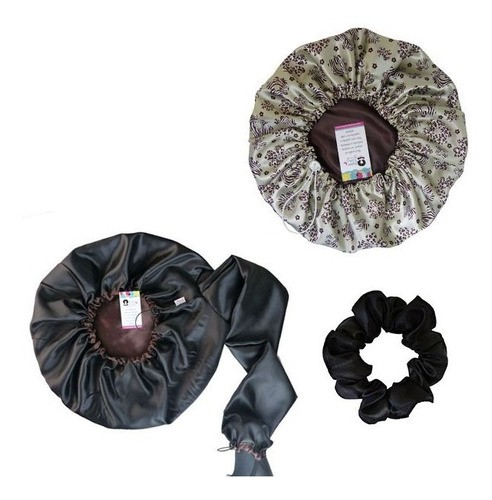 Kit 1 Difusora Marrom - 1 Touca Floral Animal e 1 Xuxinha Preta