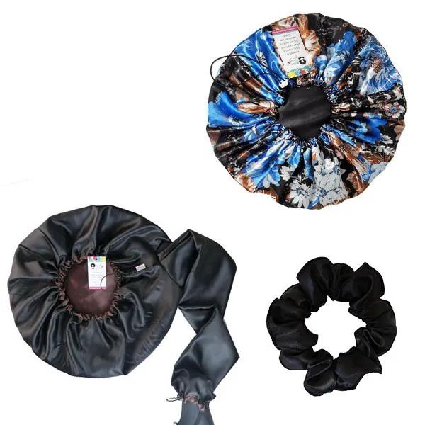 Kit 1 Difusora Marrom - 1 Touca Floral Azul II e 1 Xuxinha Preta