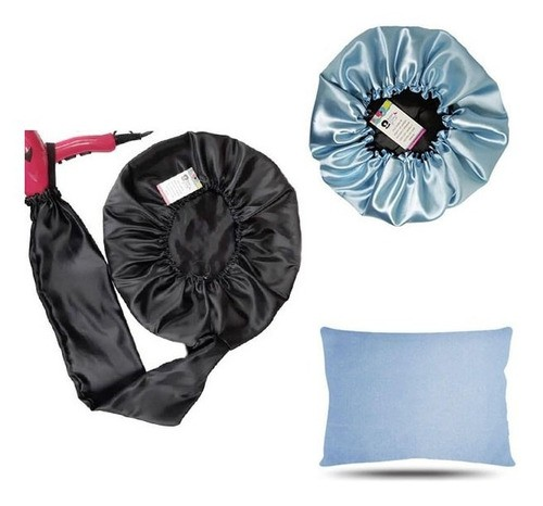 Kit 1 Difusora Preta - 1 Touca Azul Claro e 1 Fronha Azul Claro