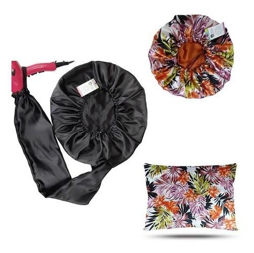 Kit 1 Difusora Preta - 1 Touca Floral Ferrugem e 1 Fronha Floral Ferrugem