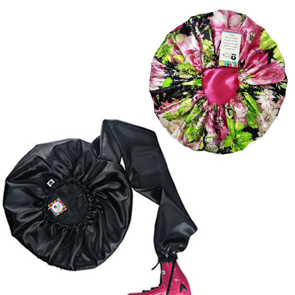 Kit 1 Difusora Preta e 1 Touca Rosa Floral