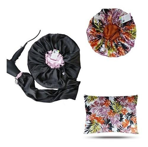 Kit 1 Difusora Rosa Bebê - 1 Touca Floral Ferrugem e 1 Fronha Floral Ferrugem