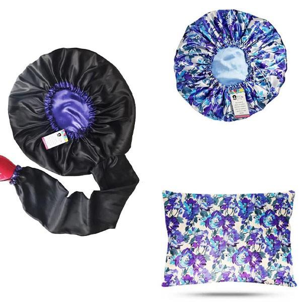 Kit 1 Difusora Roxa - 1 Touca Floral Azul I e 1 Fronha Floral Azul I