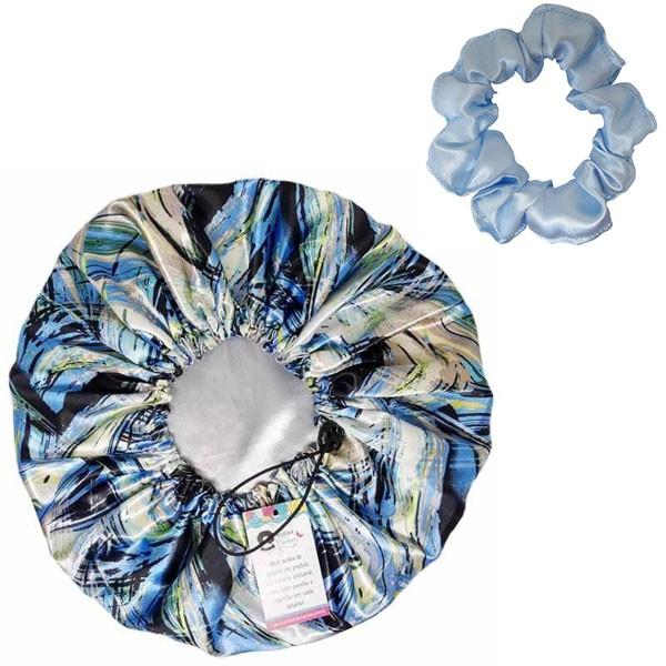 Kit 1 Touca Abstrata B e 1 Xuxinha Azul Claro