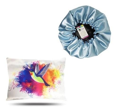 Kit 1 Touca Azul Claro e 1 Fronha Beija-Flor
