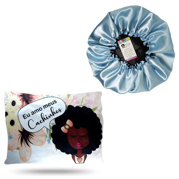 Kit 1 Touca Azul Claro e 1 Fronha Cachinhos I