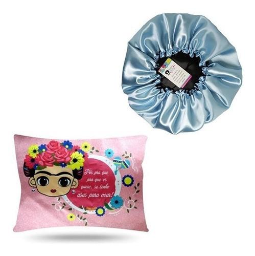 Kit 1 Touca Azul Claro e 1 Fronha Frida
