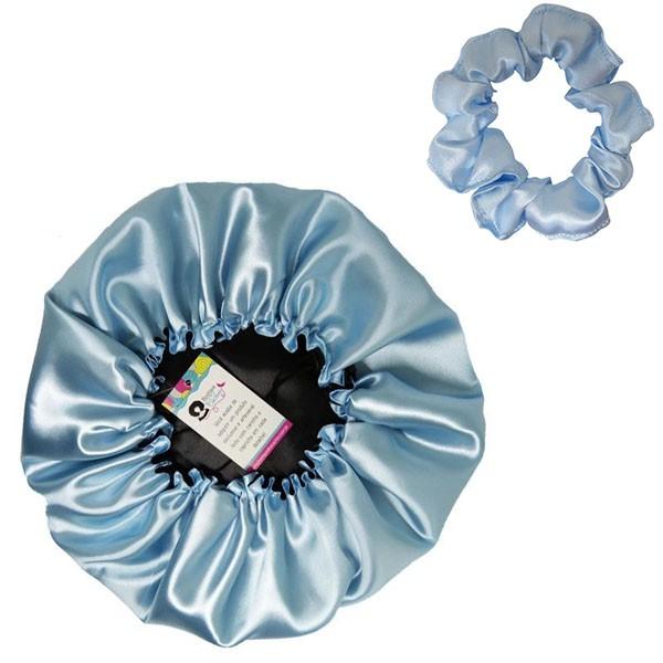Kit 1 Touca Azul Claro e 1 Xuxinha Azul Claro