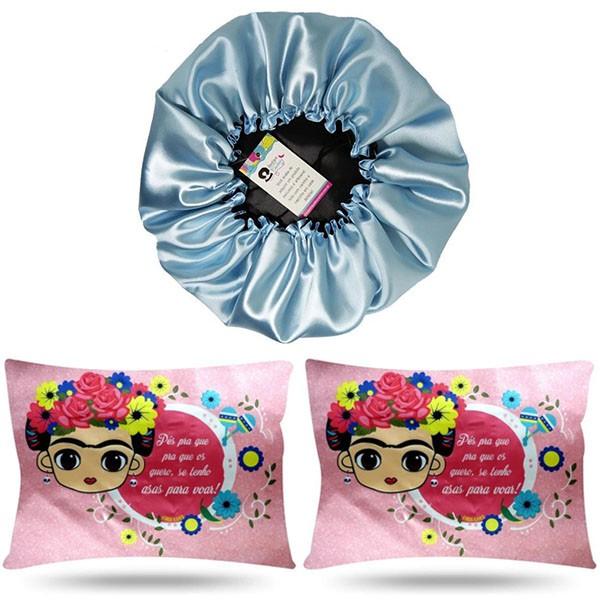 Kit 1 Touca Azul Claro e 2 Fronhas Frida