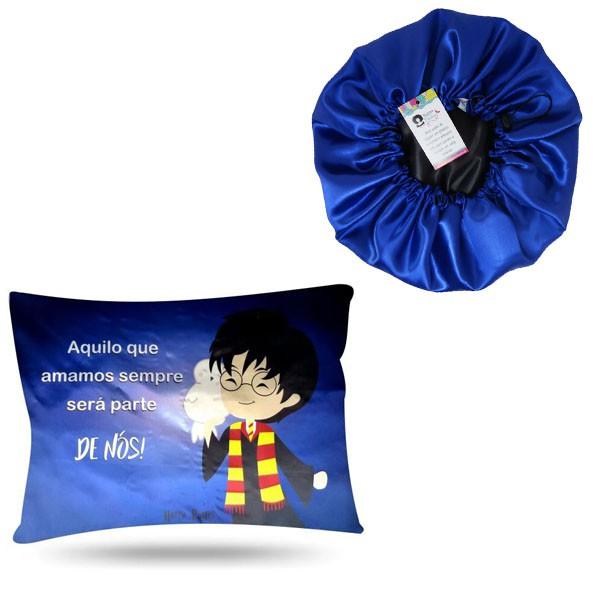 Kit 1 Touca Azul e 1 Fronha Harry Potter