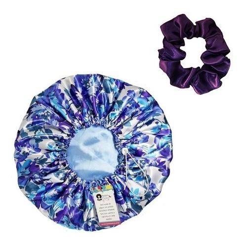 Kit 1 Touca Azul Floral I e 1 Xuxinha Roxa