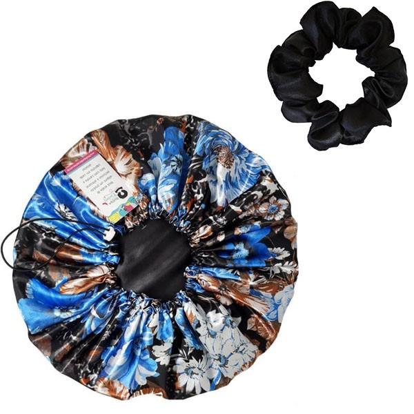 Kit 1 Touca Azul Floral II  e 1 Xuxinha Preta