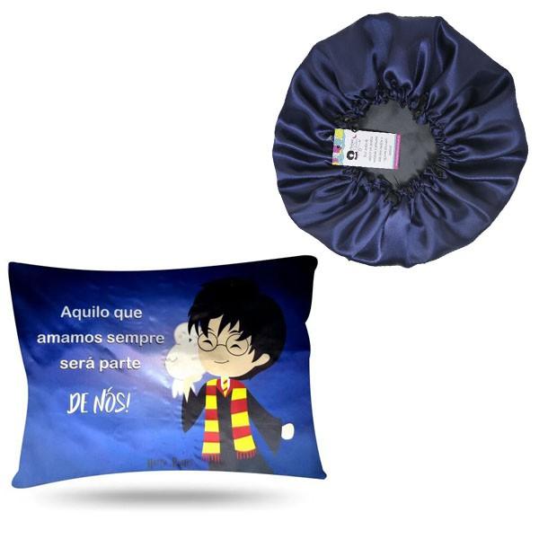Kit 1 Touca Azul Marinho e 1 Fronha Harry Potter