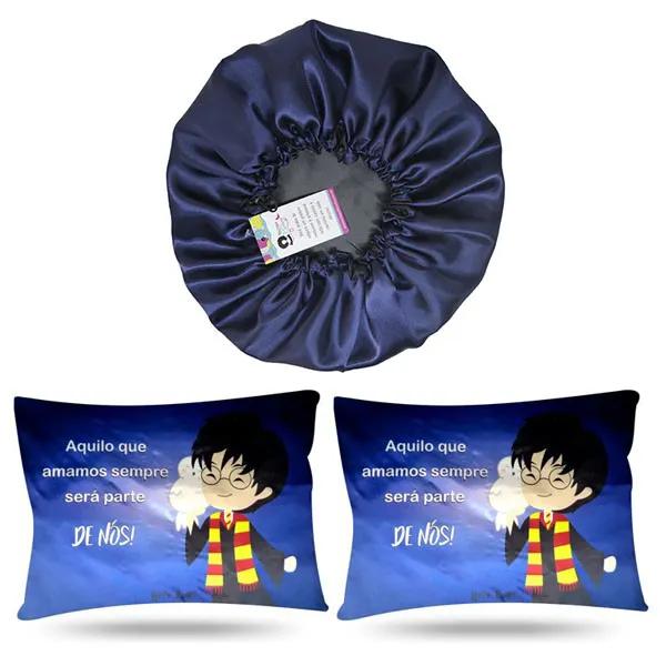 Kit 1 Touca Azul Marinho e 2 Fronhas Harry Potter