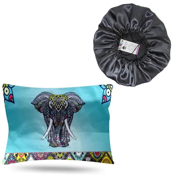 Kit 1 Touca Cinza e 1 Fronha Elefante