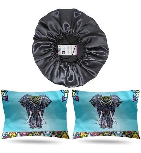 Kit 1 Touca Cinza e 2 Fronhas Elefante
