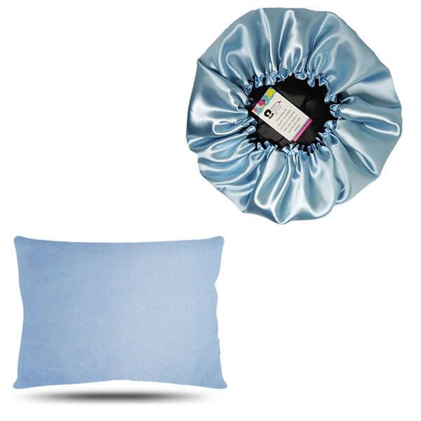 Kit 1 Touca e 1 Fronha de Cetim - Azul Claro