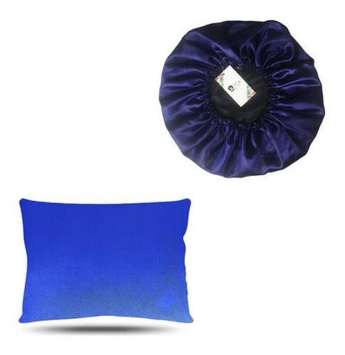 Kit 1 Touca e 1 Fronha de Cetim - Azul Escuro