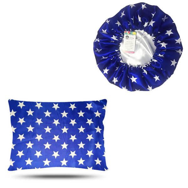 Kit 1 Touca e 1 Fronha de Cetim - Azul Estrela