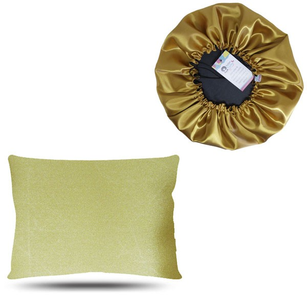 Kit 1 Touca e 1 Fronha de Cetim - Dourado