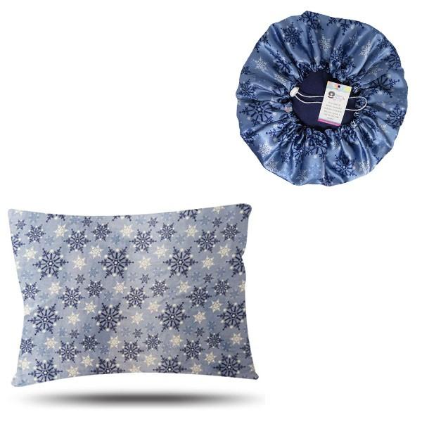 Kit 1 Touca e 1 Fronha de Cetim - Flocos de Neve - Azul