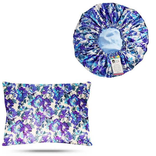 Kit 1 Touca e 1 Fronha de Cetim - Floral Azul I