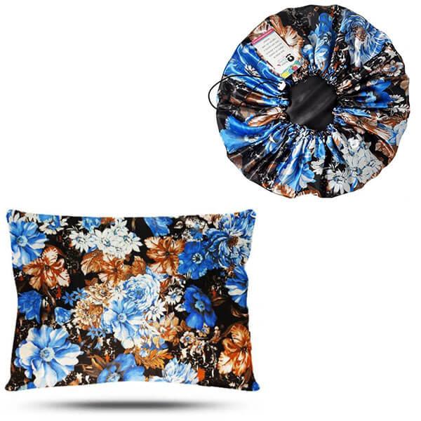 Kit 1 Touca e 1 Fronha de Cetim - Floral Azul II