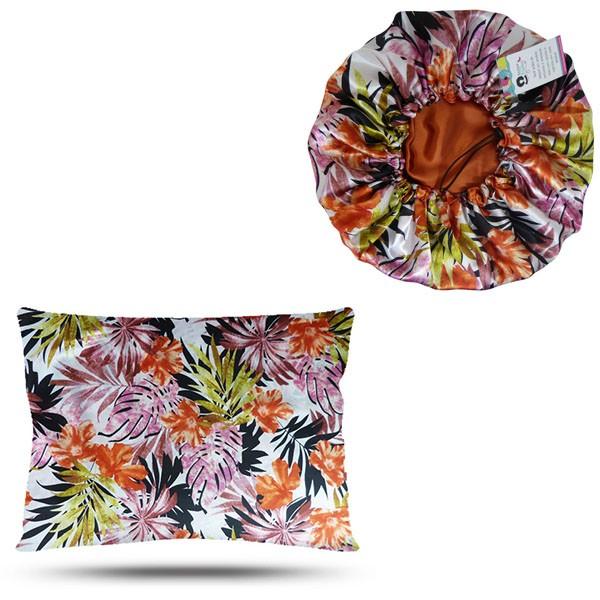 Kit 1 Touca e 1 Fronha de Cetim - Floral Ferrugem