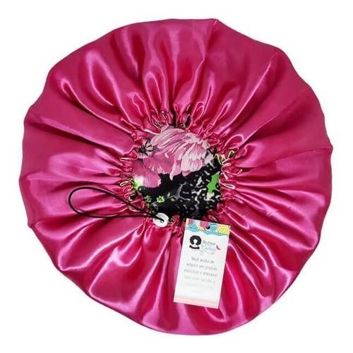 Kit 1 Touca e 1 Fronha de Cetim - Floral Rosa