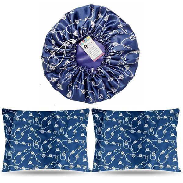 Kit 1 Touca e 2 Fronhas de Cetim - Azul Marinheiro