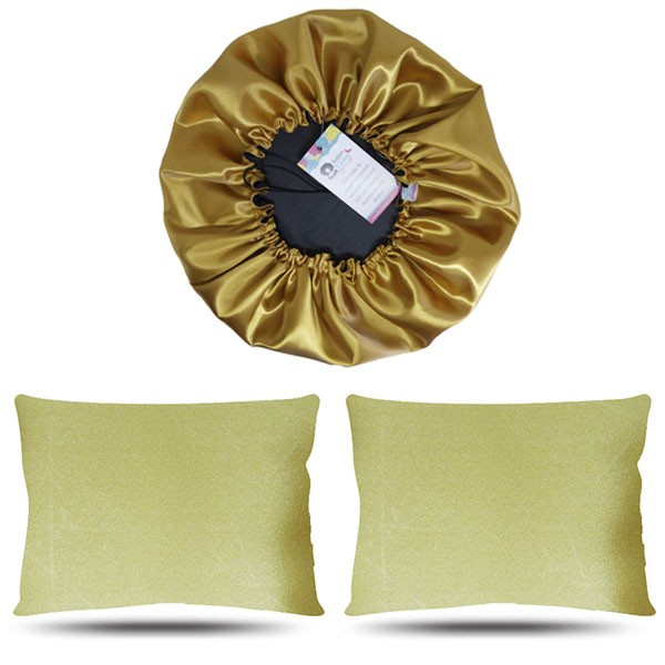 Kit 1 Touca e 2 Fronhas de Cetim - Dourado
