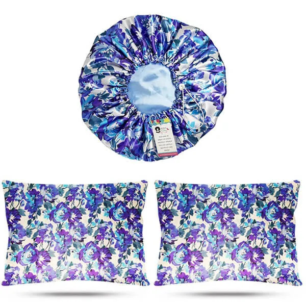 Kit 1 Touca e 2 Fronhas de Cetim - Floral Azul I