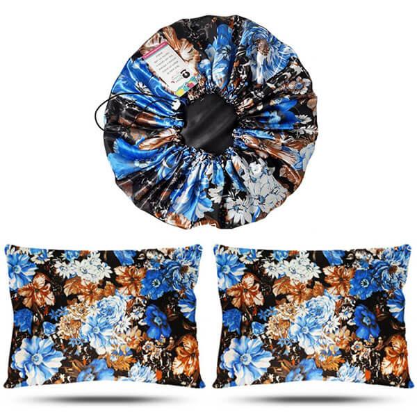 Kit 1 Touca e 2 Fronhas de Cetim - Floral Azul II