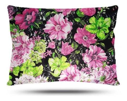 Kit 1 Touca e 2 Fronhas de Cetim - Floral Rosa