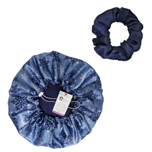 Kit 1 Touca Flocos Azul e 1 Xuxinha Azul Marinho