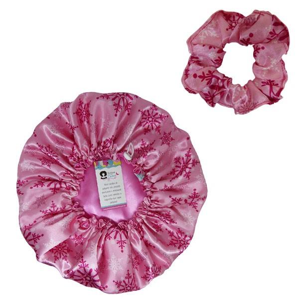 Kit 1 Touca Flocos Rosa e 1 Xuxinha Flocos Rosa