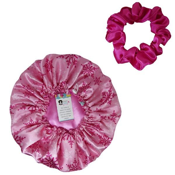 Kit 1 Touca Flocos Rosa e 1 Xuxinha Pink