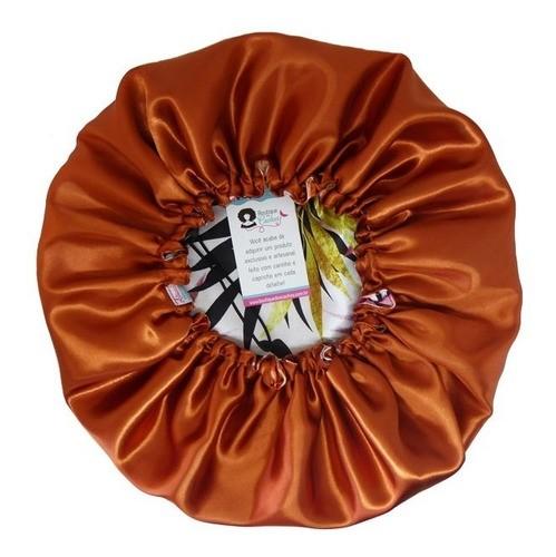 Kit 1 Touca Floral Ferrugem e 1 Xuxinha Dourada