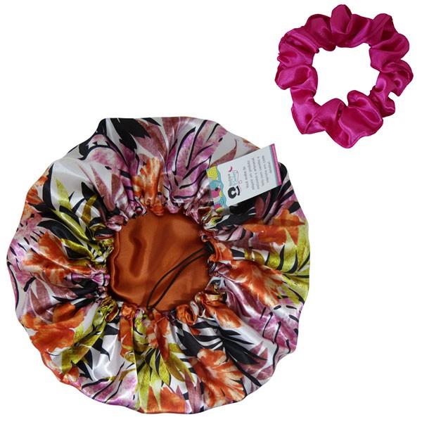 Kit 1 Touca Floral Ferrugem e 1 Xuxinha Pink
