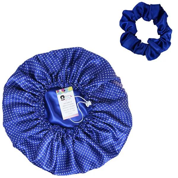 Kit 1 Touca Poá Azul Royal e 1 Xuxinha Azul Royal